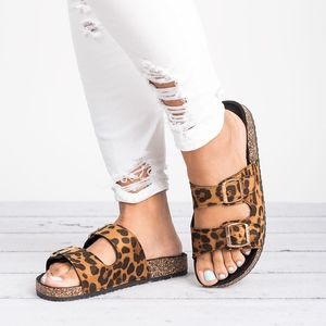 Leopard Double Buckle Footbed Sandals